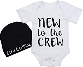 Newborn Baby Boy Clothes New to The Crew Letter Print Romper + Hat 2PCS Outfits Set 6-9 Months White