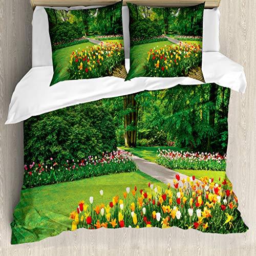 ABAKUHAUS Vårpåslakanset för dubbla sängar, trädgård med tulpanträd, kvalstersäkra allergiker lämpliga med örngott, grön och röd