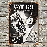 Siciny 1936 Vat 69 Scotch Whiskey Decoración de Pared de Metal Teatro decoración de habitación Carteles para Chicos Sala de Cine Snack Bar Lata Signs 12 x 8 Pulgadas