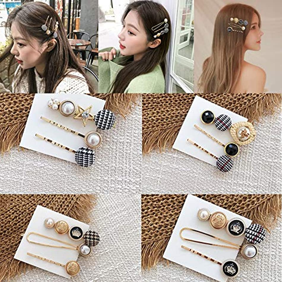 Lokesi Pearl Houndstooth Hair Clips for Women Girls, 12Pcs Vintage Style Hair Barrettes Hair Pins Hair Accessories for Wedding Party Daily Use