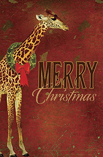 """Tree-Free Greetings EcoNotes 12-Count Christmas Card Set with Envelopes, 4"""" x 6"""", Reach Giraffe (93473)"""