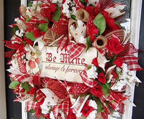 Unique Beautiful Vintage Style Be Mine Valentine's Day Front Door Deco Mesh Wreath, Love Cupid...