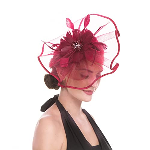 SAFERIN Fascinator Hat Feather Mesh Net Veil Party Hat Flower Derby Hat  with Clip and Hairband f25188f26d0