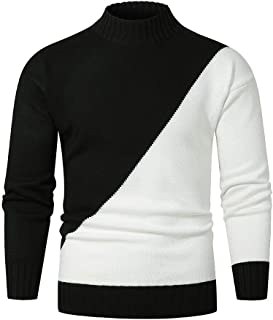 Knit Sweater for Men Long Sleeve Casual Fashion Color Block Autumn Winter Slim Fit Pullover Tops