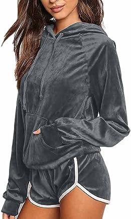 e811d8864458a Women Casual Velvet Hoodie Tops Sweatshirt Shorts 2 Pieces Tracksuits Sets  Loungewear