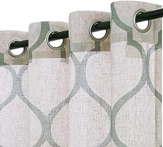jinchan Moroccan Tile Linen Textured Drapes Printed Curtain Panels Bedroom Living Room Lattice Window Treatment 2 Panel Drapes 95 inches Long Sage