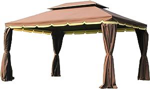 Outsunny Tonnelle Barnum pavillon de Jardin Style Colonial Double Toit Toile moustiquaires et Toiles Amovibles 3,9L x 2,9l x 2,8H m Chocolat
