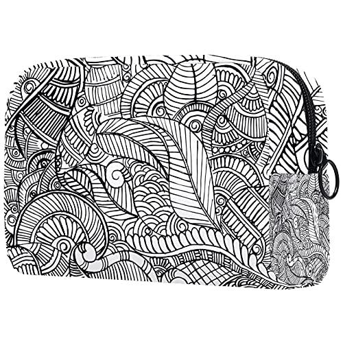 Kosmetiktasche Damen Federmäppchen Stiftetasch Schminktasche Kulturtasche für Handtasche Makeup Tasche Waschtasche Mädchen Schwarz-Weiß-Mandala-Henna