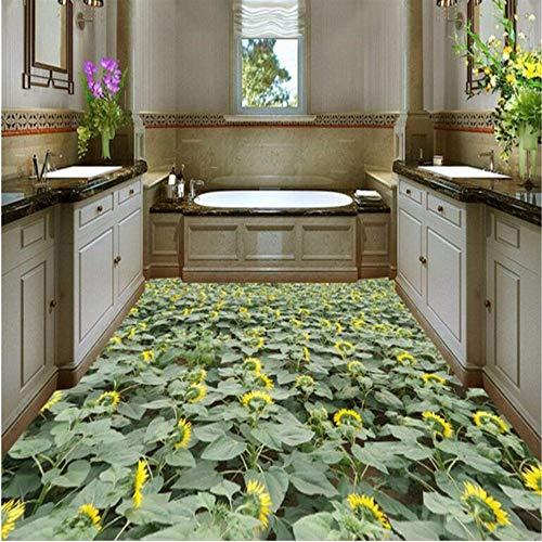Wuyii op maat gesneden elke grootte Pvc-vloerbedekking muur pastorale kleur zonnebloem familiebad 3D stereo verdikt waterdichte bodem 250x175cm