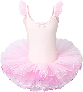 BAOHULU Little Girls' Rhinestone Dance Costumes Short Sleeve Tutu Ballet Dress