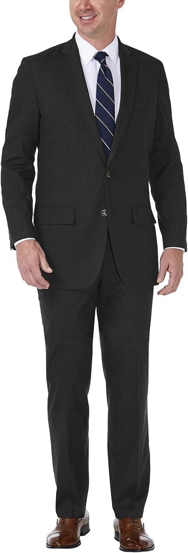 Haggar Men's J.m Premium Stria Tailored Fit Suit Separate Coat, Black, 44S with Tailored Fit Suit Separate Pant, Black, 40Wx32L