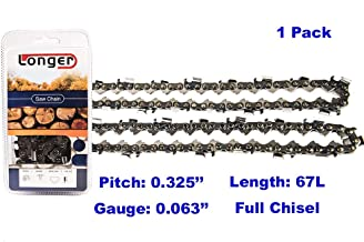 16 Inch 0.325'' Pitch 0.063'' Gauge Full Chisel Chainsaw Chain 67 Links
