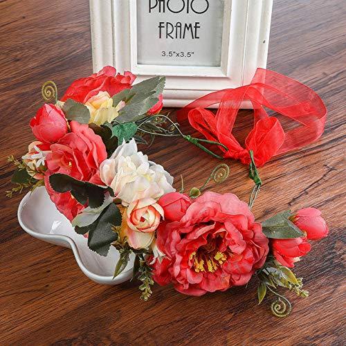 FYTVHVB Rose Peony Flower Girl Novia Floral Turbante Boda Diadema Tocado Mujer...