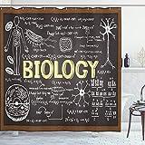 ABAKUHAUS Lehrreich Duschvorhang, Biologie-Symbole, mit 12 Ringe Set Wasserdicht Stielvoll Modern Farbfest & Schimmel Resistent, 175x200 cm, Hellgelb Schwarz Braun
