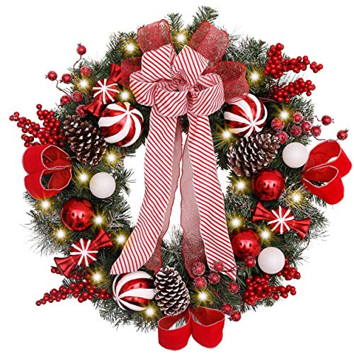 Valery Madelyn Pre-Lit 30 Inch Sweet Candy Red White Christmas Wreath for Front Door with Ball Ornaments, Berries, Pine Cones, Ribbons and Flowers, Battery Operated 40 LED Lights
