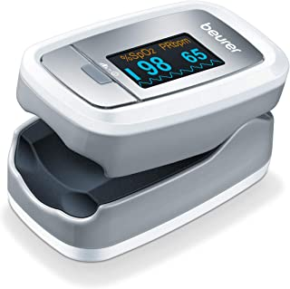 Beurer Instant Digital Fingertip Pulse Oximeter, Blood Oxygen Saturation & Pulse Rate Monitor with Accessories, PO30