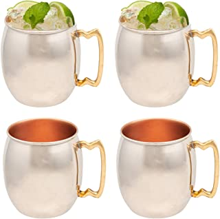 Old Dutch 4 Pack Inside Out 16oz Moscow Mule Mugs Solid Copper Drink Cup Set Nickel Plated with Handle