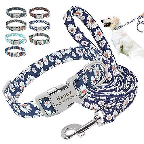 Beirui Juego de collar y correa de nailon personalizado – collares de estilo étnico suave para perros pequeños, medianos y grandes con hebilla ligera, M, margaritas azules