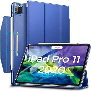 ESR iPad Pro 11 ケース 2020 オートスリープ/ウェイク [Apple Pencil 2 ワイヤレス充電対応] 軽量 留め具付き イッピー三つ折りスマートケース iPad Pro 11インチ 2020用ハード背面カバー(ネイビーブルー)