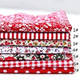 LINL 7pcs 25 * 25 cm Tejidos de algodón de Colores Varios decoración Bundle Fat Quarters Pre Cortadas El Bricolaje Materiales artesanales Mano,Rojo