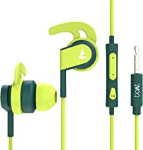 boAt Bassheads 242 Wired Sports Earphones with HD Sound 10 mm Dynamic Drivers IPX 4 Sweat and Water Resistance Superior Coated Cable in Line Mic with Carry Pouch Neon Green