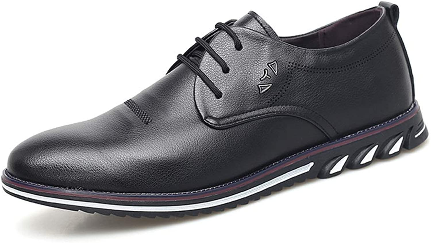 Men's Leather shoes Flat Oxford shoes Low to Help Waterproof Non-Slip Round Head Tie Business Casual shoes (color   Black, Size   6 UK)