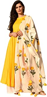 GoSriKi Women's cotton anarkali Salwar Suit Set (KCH-YELLOW Small)