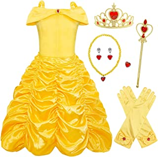 AmzBarley Belle Princess Costume Girls Cosplay Dress Up Wedding Birthday Halloween Fancy Party Clothes Age 1-10 Years