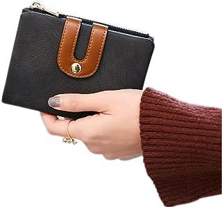 Women's Rfid Small Bifold Leather Wallet Ladies Mini Zipper Coin Purse id card Pocket,Slim Compact Thin (Black)