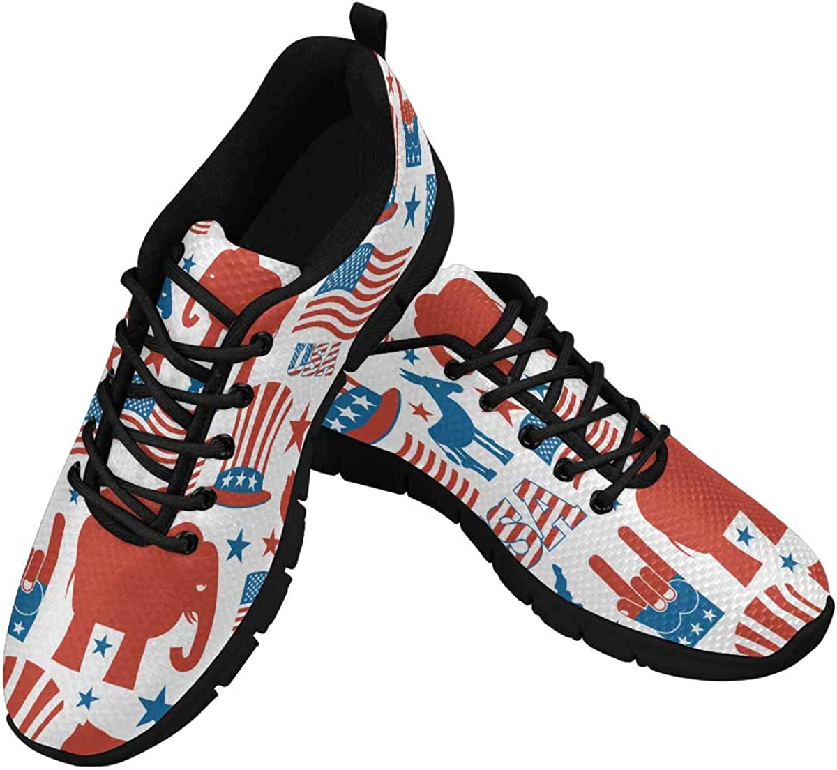 INTERESTPRINT Uncle Sam Hat, American Flag and Map Women's Athletic Mesh Breathable Casual Sneakers Fashion Tennis Shoes