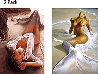 FUNISFUN 2 Pack Mermaid DIY Oil Painting Paint by Number Kits for Adults Children Beginner Students Suitable for Home Living Room Decoration