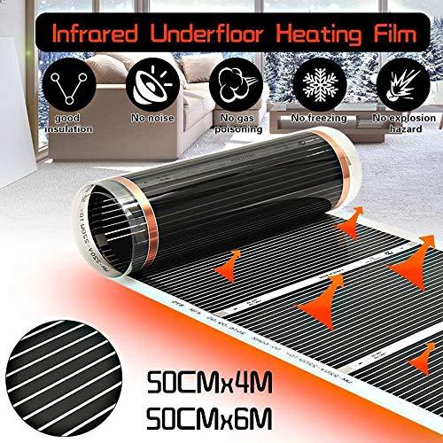 Oulida Leichtes Zuhause AC 220 V Fußbodenheizung Infrarot-Heizung for elektrische Fußbodenheizung Film Boden Warmer Warm Mat Laminat/Massivparkett Heizung WSL xiaojiadian (Color : 50cm x 2m)