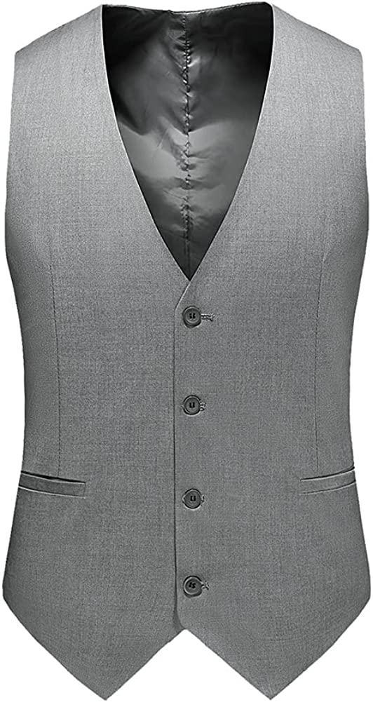 AOWOFS Mens Formal Suit Vest Slim Fit Business Solid Color Wedding Dress Waistcoat