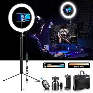 10 tum LED-ringlampa med stativstativ, dimbar ringlampa med telefonhållare och Bluetooth-fjärrkontroll för YouTube-video/k...
