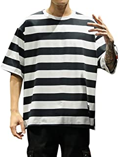 Allywit-Mens Creative Short Sleeve T-Shirt White Striped 3D Print Casual Graphic Tees Tops Big and Tall