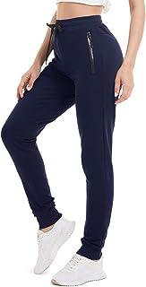 TACVASEN Women's Jogging Pants Cotton Gym Workout Running Sweatpants with Zipper Pockets