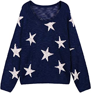 Women's Boat V Neck Long Sleeve Star Pullover Sweater...