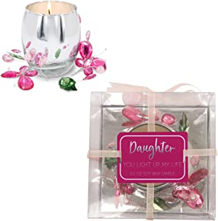 Pavilion Gift Company 3.5 Oz Jasmine Scented Candle with Pink Glass Butterfly Wreath Daughter You Light Up My Life, 3.5 Ounce
