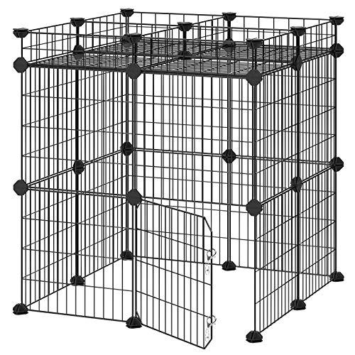 SONGMICS Pet Playpen Includes Zip Ties, Upgrade Customizable Animal Fence with Storage, Door, Metal Wire Pen Fence for Small Animals, Bunnies, Rabbits, Puppy Guinea Pigs, for Indoor Use ULPI03H