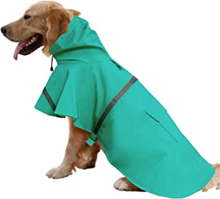 Mikayoo Large Dog Raincoat Ajustable Pet Waterproof Clothes Lightweight Rain Jacket Poncho Hoodies with Strip Reflective