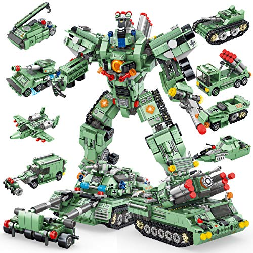 PANLOS STEM Robot Building Toys Engineering Building Bricks Military Strategic Tank Vehicles Kit Building Blocks for Kids 6 Years Old or Older Tight Fit and Compatible with All Major Brands 832PCS