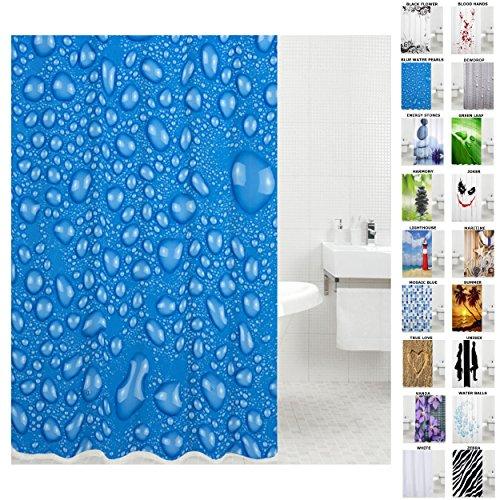 Sanilo Duschvorhang, viele schöne Duschvorhänge zur Auswahl, hochwertige Qualität, inkl. 12 Ringe, wasserdicht, Anti-Schimmel-Effekt (180 x 200 cm, Blue Water Pearls)