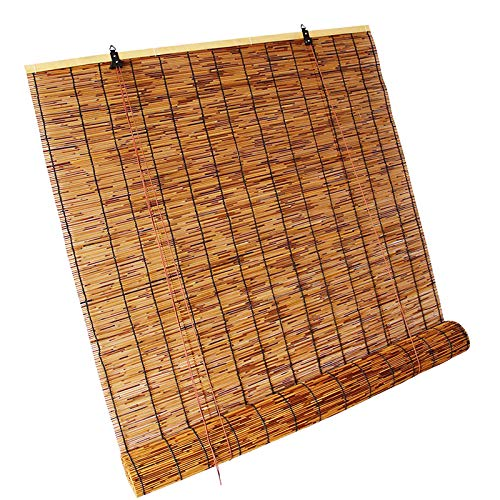 DSJGVN Natural Reed Window Blinds, Waterproof Decorative Curtains, Bamboo Patio Shades Roll Up Outdoor, Used for Windows, Living Rooms, Gardens, Sunblock, Breathable, Roll Up Sun Shade, Bamboo Blind