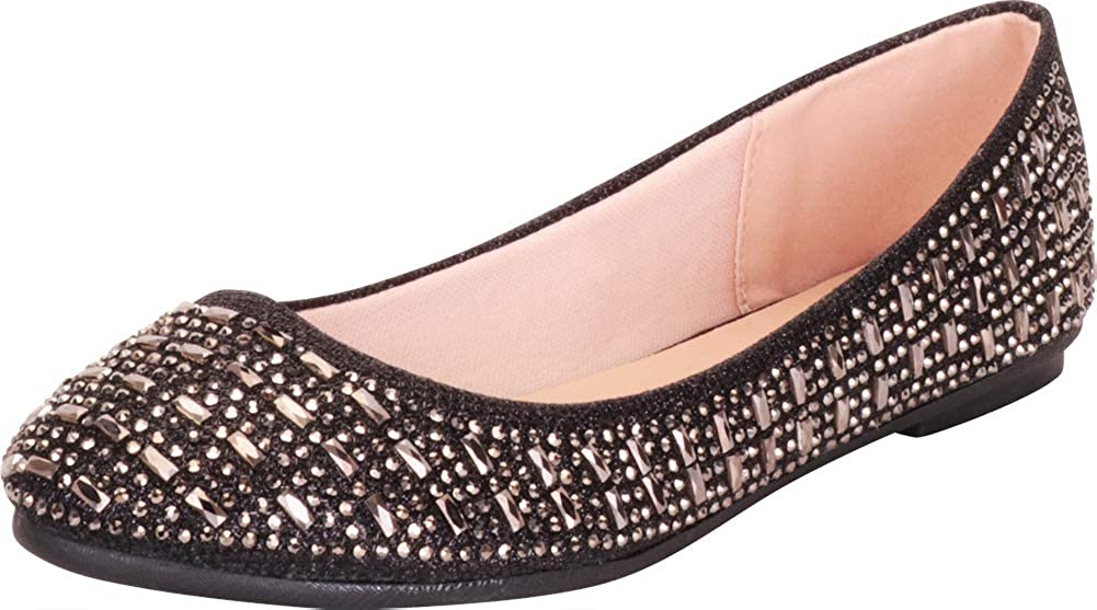 Houston Mall Cambridge Select Women's Round Toe Sl Max 73% OFF Glitter Rhinestone Crystal