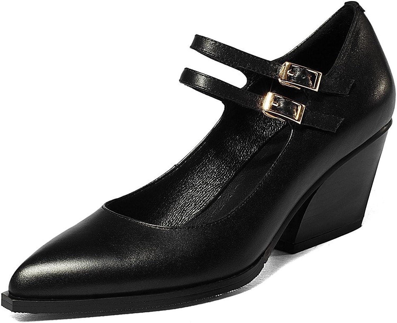 Nine Seven Genuine Leather Women's Pointed Toe Chunky Heel Buckle Handmade Pump