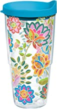 Tervis 1176070 Boho Floral Chic Tumbler with Wrap and Turquoise Lid 24oz, Clear