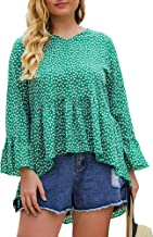 Jyccr Women Casual Plus Size Ruffle Polka Dot Long Sleeve High Low Blouse
