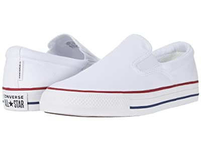 Converse Chuck Taylor All Star Double Gore Slip Slip (White/Garnet/Insignia Blue) Shoes