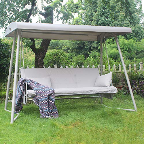 3-Seater Patio Porch Swing with Canopy Convertible Swing Chair Daybed w/Cushion Seat for Patio Outdoor Garden