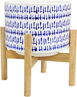Ceramic Plant Pot with Wood Stand - 7.3 Inch Modern Round Decorative Flower Pot Indoor with Wood Planter Holder, Blue and White, Home Decor Gift